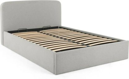 An Image of MADE Essentials Besley King Size Ottoman Storage Bed, Hail Grey
