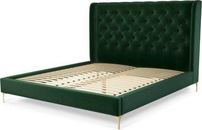 An Image of Custom MADE Romare Super King size Bed, Bottle Green Velvet with Brass Legs