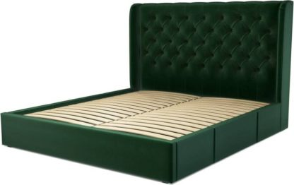 An Image of Custom MADE Romare Super King size Bed with Drawers, Bottle Green Velvet