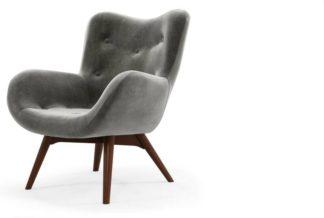 An Image of Doris Accent Armchair, Steel Grey Velvet with Dark Wood Legs