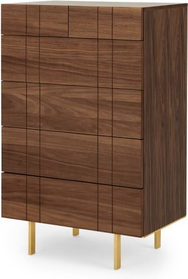 An Image of Keaton Tall Chest of Drawers, Walnut & Brass