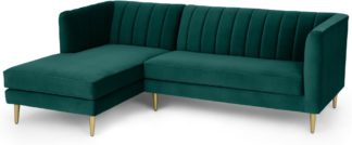 An Image of Amicie Left Hand Facing Chaise End Corner Sofa, Seafoam Blue Velvet