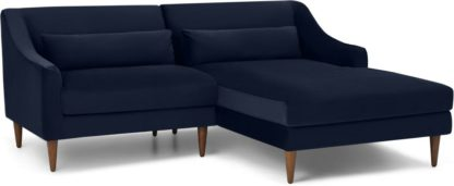 An Image of Herton Right Hand Facing Small Chaise End Sofa, Ink Blue Velvet