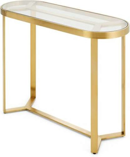 An Image of Aula Console Table, Brushed Brass and Glass