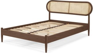 An Image of Reema Double Bed, Dark Stain & Cane