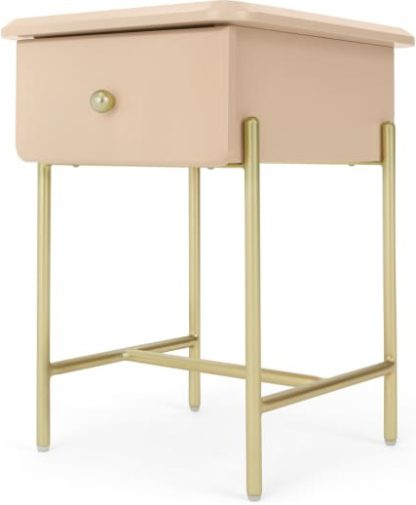 An Image of Maddie Bedside Table, Pink & Brass