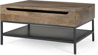 An Image of Lomond Lift Top Coffee Table with Storage, Mango Wood and Black