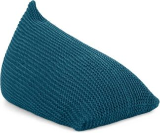 An Image of Andra Large Chunky Knit Bean Bag, Teal