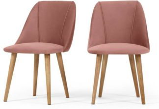 An Image of Lule Set of 2 Dining Chairs, Blush Pink Velvet