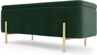An Image of Asare 110cm Upholstered Ottoman Storage Bench, Pine Green and Brass