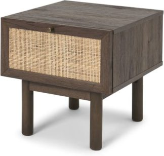 An Image of Pavia Bedside Table, Natural Rattan & Walnut Effect