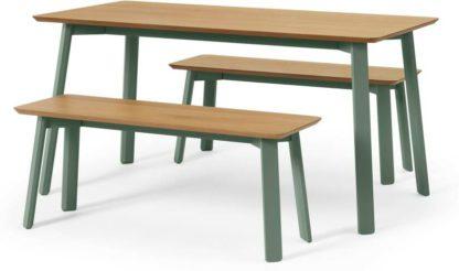 An Image of Asuna Dining Table & Bench Set, Oak & Fern Green