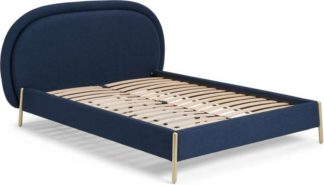 An Image of Shelia King Size Bed, Midnight Blue Weave