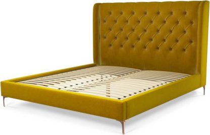 An Image of Custom MADE Romare Super King size Bed, Saffron Yellow Velvet with Copper Legs