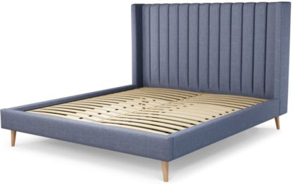 An Image of Custom MADE Cory Super King size Bed, Denim Cotton with Oak Legs