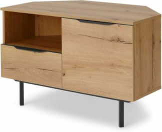 An Image of Damien Corner TV Unit, Distressed Oak Effect & Black