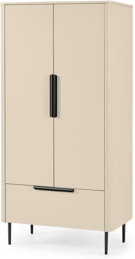 An Image of Ebro Double Wardrobe, Ivory White & Black