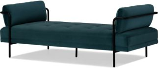 An Image of Harlow Day Bed, Steel Blue Velvet
