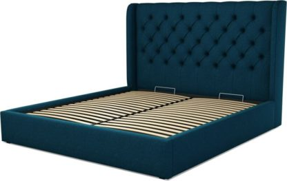 An Image of Custom MADE Romare Super King size Bed with Ottoman, Navy Wool