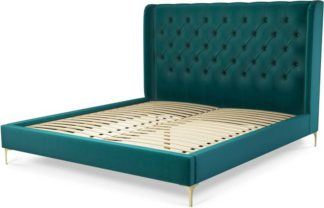 An Image of Custom MADE Romare Super King size Bed, Tuscan Teal Velvet with Brass Legs