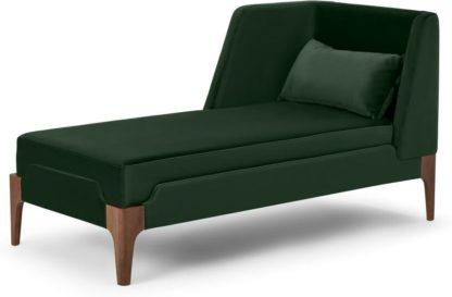 An Image of Roscoe Left Hand Facing Chaise Longue, Pine Green Velvet