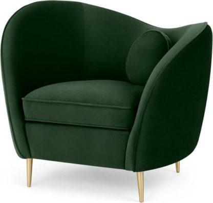 An Image of Kooper Accent Armchair, Pine Green Velvet