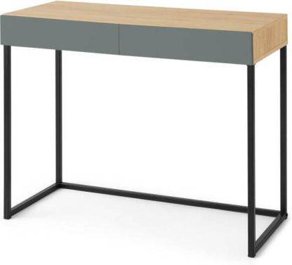An Image of Hopkins Compact Desk, Oak Effect & Grey Blue