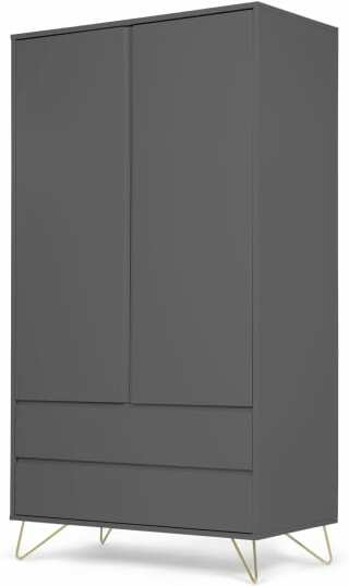 An Image of Elona Wardrobe, Charcoal and Brass
