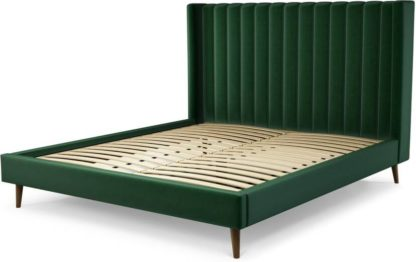 An Image of Custom MADE Cory Super King size Bed, Bottle Green Velvet with Walnut Stained Oak Legs