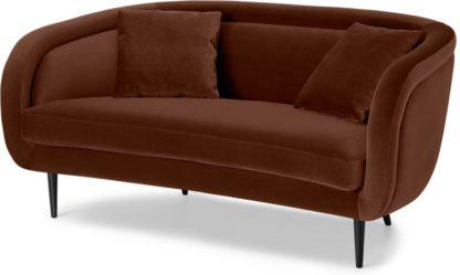 An Image of Caswell 2 Seater Sofa, Warm Caramel Velvet