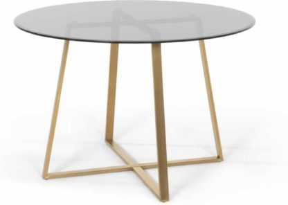 An Image of Haku 4 Seat Round Large Dining Table, Brass and smoked glass