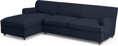 An Image of Orson Left Hand Facing Chaise End Sofa Bed, Dark Blue Weave