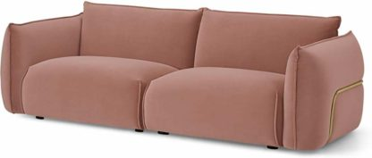 An Image of Dion 3 Seater Sofa, Blush Pink Velvet with Brass Frame