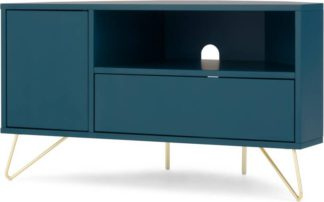 An Image of Elona Corner Media Unit, Teal and Brass