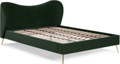 An Image of Kooper Double Bed, Laurel Green Velvet