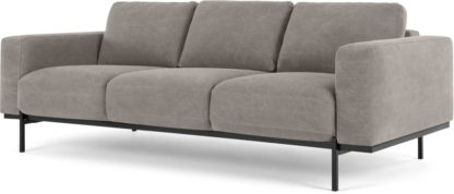 An Image of Jarrod 3 Seater Sofa, Washed Grey Cotton