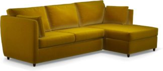 An Image of Milner Right Hand Facing Corner Storage Sofa Bed with Memory Foam Mattress, Saffron Yellow Velvet