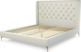 An Image of Custom MADE Romare Super King size Bed, Putty Cotton with Copper Legs