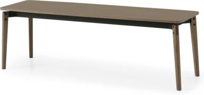 An Image of Mellor Dining Bench, Dark Stained Oak & Textured Charcoal