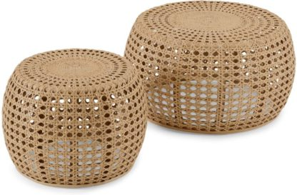 An Image of Omaha Nesting Coffee Tables, Natural Rattan