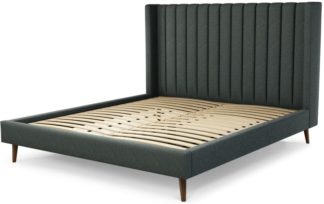 An Image of Custom MADE Cory Super King size Bed, Etna Grey Wool with Walnut Stained Oak Legs