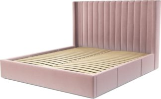 An Image of Custom MADE Cory Super King size Bed with Drawers, Heather Pink Velvet