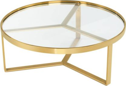 An Image of Aula Coffee Table, Brushed Brass & Glass
