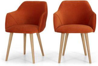 An Image of Lule Set of 2 Carver Dining Chairs, Flame Orange Velvet & Oak
