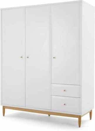 An Image of Willow Triple Wardrobe, White and Oak