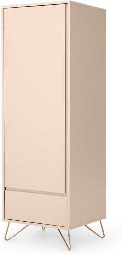 An Image of Elona Single Wardrobe, Dusk Pink & Copper
