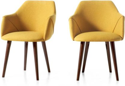 An Image of Lule Set of 2 Carver Dining Chairs, Yellow & Walnut