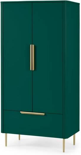 An Image of Ebro Double Wardrobe, Peacock Green & Brass