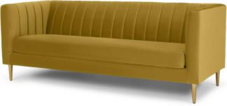 An Image of Amicie 3 Seater Sofa, Vintage Gold Velvet