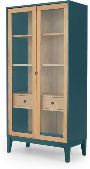 An Image of Ralph Glass Cabinet, Oak & Teal